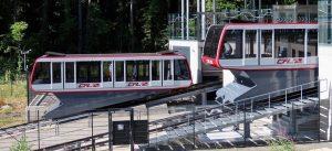 luxemburg kollektivtrafik panorama 300x137 - Pfaffenthal-kirchberg, Luxembourg, Luxembourg - July 4, 2019. Public Transport In City. Bright Red F
